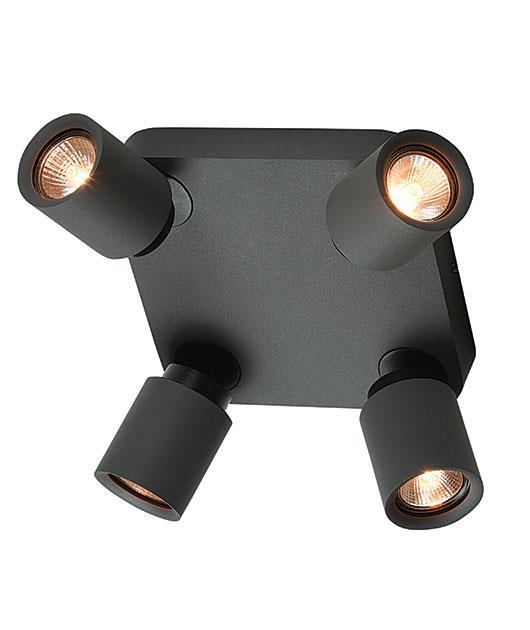 Σποτ 4φωτο μεταλλικό ανθρακί 13cm Zambelis Lights 16186