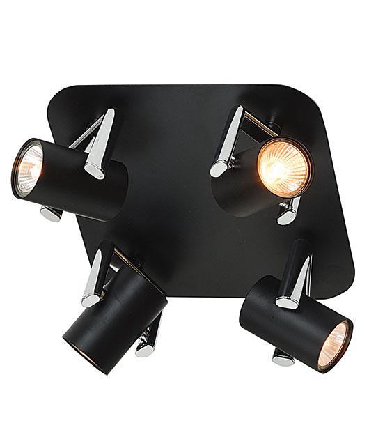 Σποτ 4φωτο μεταλλικό μαύρο/χρώμιο 17cm Zambelis Lights 16188