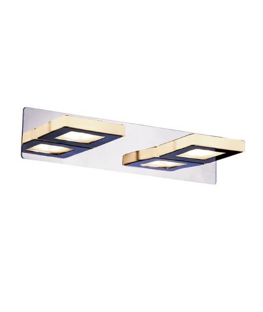 Απλίκα τοίχου 2φωτη με Led χρώμιο 32×11.5cm Zambelis Lights 16194