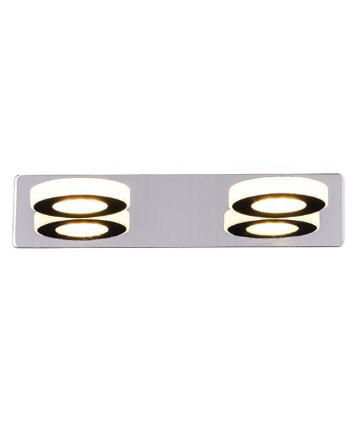 Απλίκα τοίχου 2φωτη με Led χρώμιο 32×11.5cm Zambelis Lights 16197