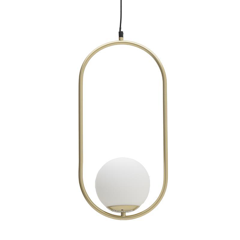 Φωτιστικό oροφής κρεμαστό μονόφωτο μεταλλικό χρυσό/λευκό 29x25x50cm Inart 3-10-752-0035