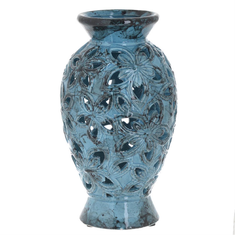 Βάζο διακοσμητικό κεραμικό αντικέ μπλε 14.5×14.5×25.5cm Inart 3-70-685-0101