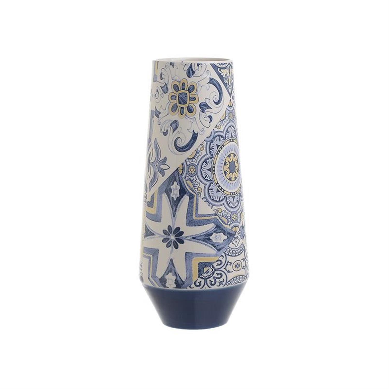 Βάζο κεραμικό λευκό/μπλε Δ14x32cm Inart 3-70-178-0068