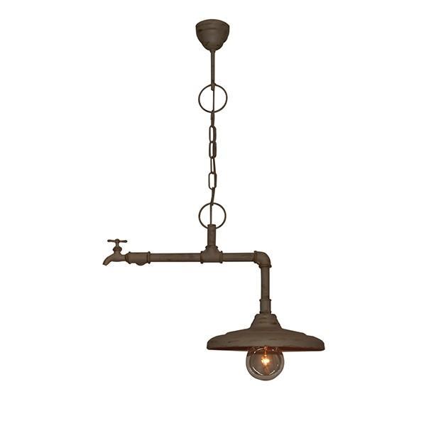 Φωτιστικό οροφής κρεμαστό μονόφωτο Pipes μεταλλικό καφέ/μπεζ 51x30x83cm Home Lighting 77-2250