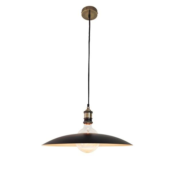 Φωτιστικό οροφής κρεμαστό μονόφωτο Magnum Plate Καμπάνα μεταλλικό μαύρο/λευκό με μαύρο υφασμάτινο καλώδιο μπρονζέ ντουί και ροζέ