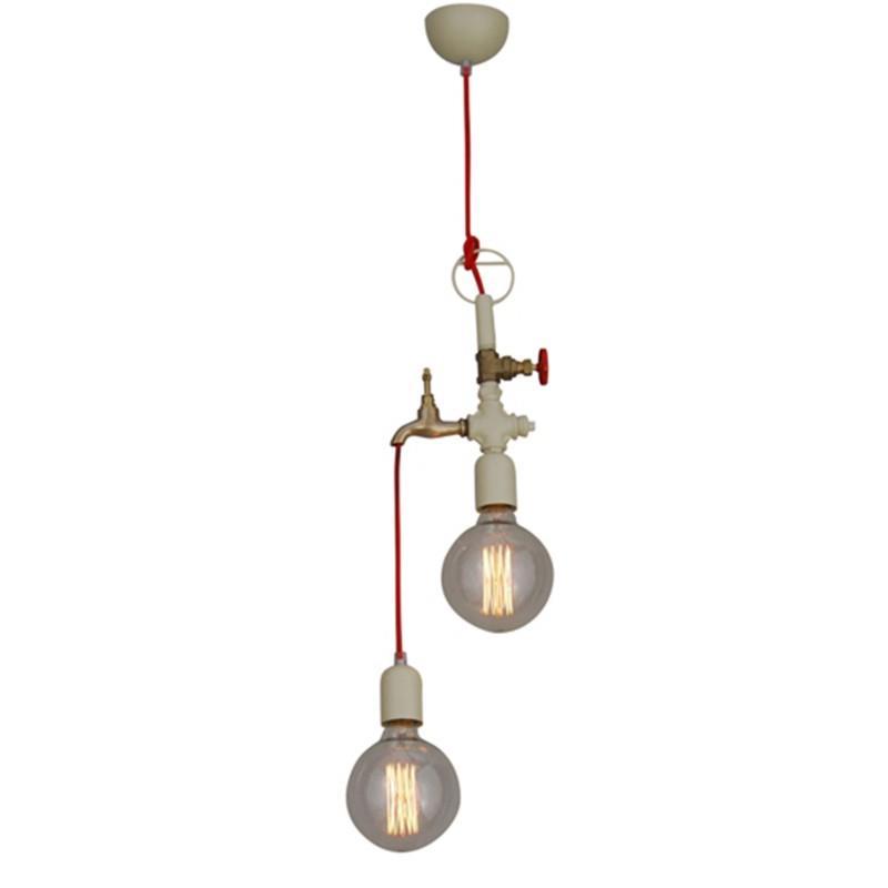 Φωτιστικό οροφής κρεμαστό 2φωτο Hikari μεταλλικό μπεζ με υφασμάτινο κόκκινο καλώδιο 20x30x110cm Home Lighting77-2787