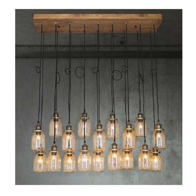 Φωτιστικό οροφής κρεμαστό 18φωτο Spica Ράγα ξύλινο με βάζα υφασμάτινο καλώδιο και μπρονζέ ντουί 30x110x130cm Home Lighting 77-28