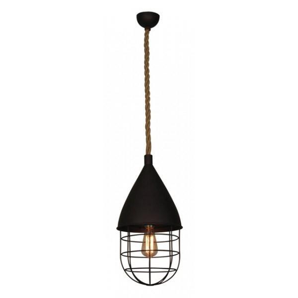 Φωτιστικό οροφής κρεμαστό μονόφωτο Cleitus μεταλλικό καφέ με πλέγμα και ανάρτηση από σχοινί 26x48x110cm Home Lighting 77-3009