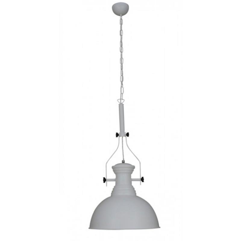 Φωτιστικό οροφής κρεμαστό μονόφωτο Khaleesi Vintage Καμπάνα αλουμινίου λευκό ματ με αλυσίδα και υφασμάτινο καλώδιο 60x60x85cm Ho