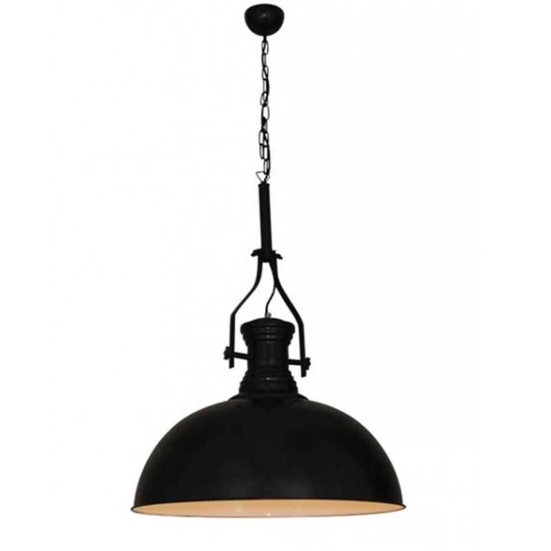 Φωτιστικό οροφής κρεμαστό μονόφωτο Khaleesi Vintage Καμπάνα αλουμινίου μαύρο ματ με αλυσίδα και υφασμάτινο καλώδιο 38x38x75cm Ho