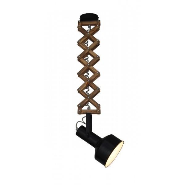 Φωτιστικό οροφής κρεμαστό μονόφωτο Up-Down Mini μεταλλικό μαύρο/χάλκινο με ξύλινη επέκταση 16x16x50-90cm Home Lighting 77-3104