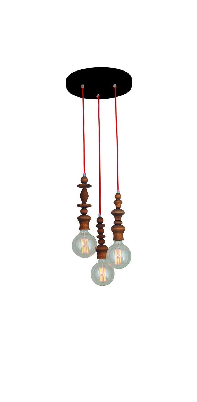 Φωτιστικό οροφής κρεμαστό 3φωτο Melody Aged ξύλινο με υφασμάτινο κόκκινο καλώδιο και μασίφ ξύλινα δαχτυλίδια 35x110cm Home Ligh