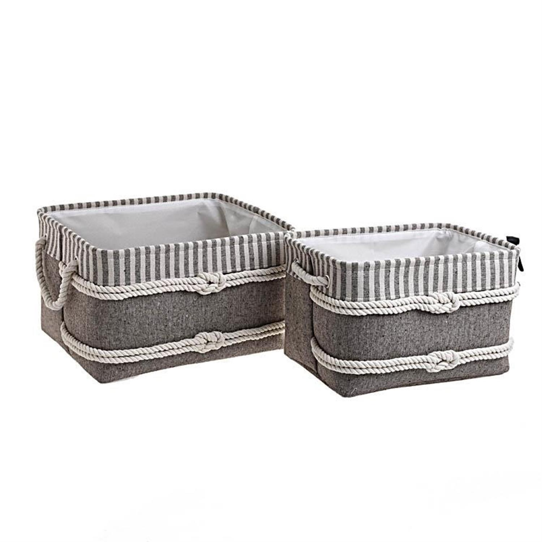 S/2 Καλάθι απλύτων υφασμάτινο καφέ/λευκό 40x30x24cm Inart 3-65-367-0007