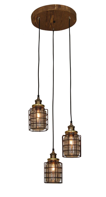 Φωτιστικό οροφής κρεμαστό 3φωτο Okda με γυάλινα βάζα και μεταλλικό μαύρο πλέγμα σε ξύλινη βάση 35x90cm Home Lighting 77-3067