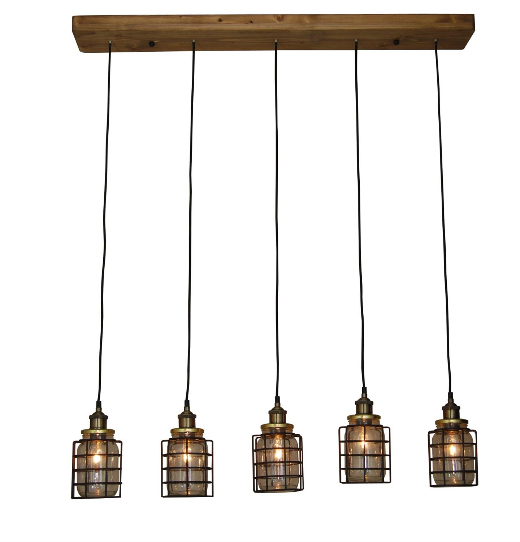 Φωτιστικό οροφής κρεμαστό 5φωτο Okda με γυάλινα βάζα και μεταλλικό μαύρο πλέγμα σε ξύλινη βάση 90x110cm Home Lighting 77-3069
