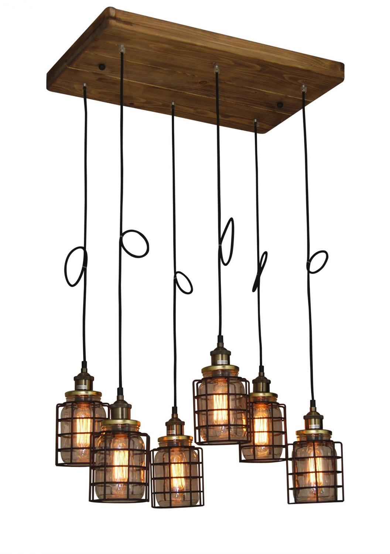 Φωτιστικό οροφής κρεμαστό 6φωτο Okda με γυάλινα βάζα και μεταλλικό μαύρο πλέγμα σε ξύλινη βάση 38x110cm Home Lighting 77-3072