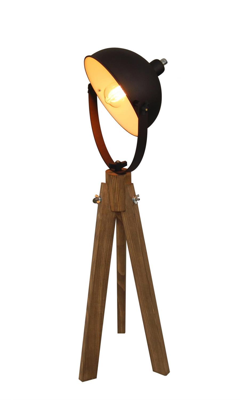 Φωτιστικό επιτραπέζιο μονόφωτο Tripoda μεταλλικό με ξύλινη βάση καφέ/natural 35x90x24cm Home Lightinhg 77-3093