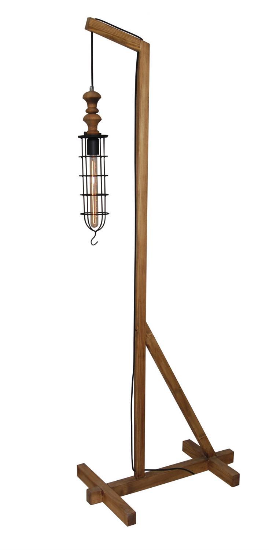 Φωτιστικό επιδαπέδιο μονόφωτο Midas μεταλλικό με πλέγμα και ξύλινη βάση μαύρο/natural 11x190x75cm Home Lighting 77-3128