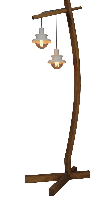 Φωτιστικό επιδαπέδιο 2φωτο Norio μεταλλικό με ξύλινη βάση λευκό 19x189x65cm Home Lighting 77-3135