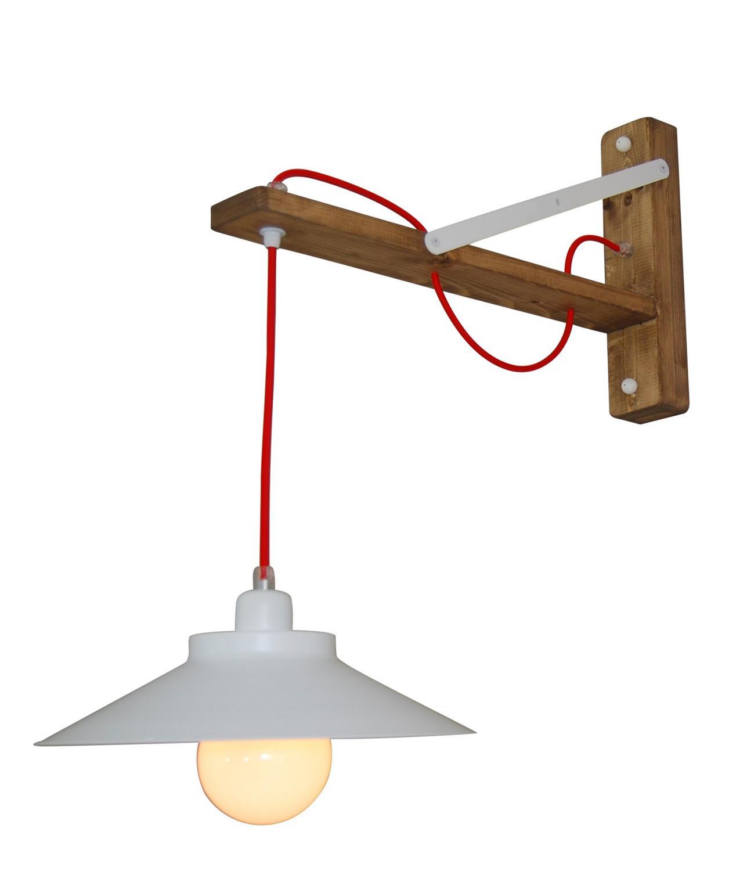 Φωτιστικό τοίχου μονόφωτο Cahal μεταλλικό λευκό με υφασμάτινο κόκκινο καλώδιο και ξύλινο σκελετό 31x60x62cm Home Lighting 77-315