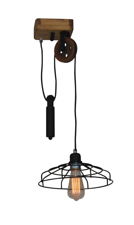 Φωτιστικό οροφής κρεμαστό μονόφωτο Deon μεταλλικό με μαύρα πλέγματα με υφασμάτινο μαύρο καλώδιο και ξύλινο σκελετό 27x75cm Home