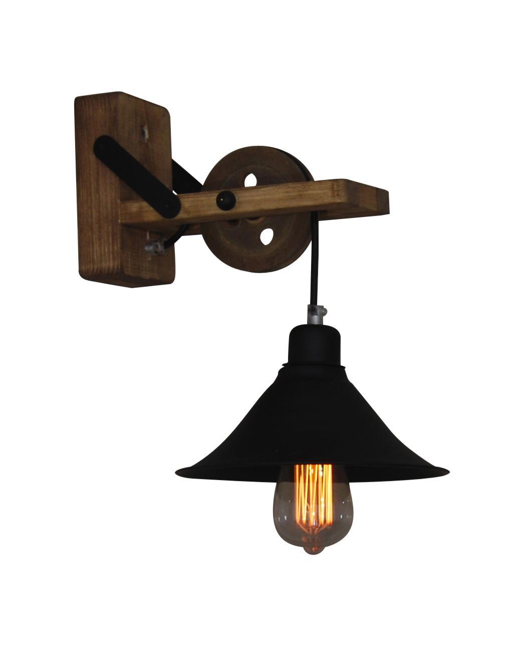 Φωτιστικό τοίχου μονόφωτο Melkor μεταλλικό με υφασμάτινο μαύρο καλώδιο και ξύλινα μπράτσα – βάση 21x34x35cm Home Lighting 77-318