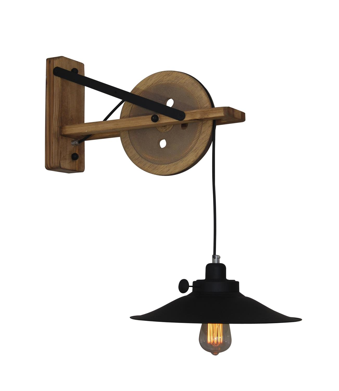 Φωτιστικό τοίχου μονόφωτο Melkor μεταλλικό με υφασμάτινο μαύρο καλώδιο και ξύλινα μπράτσα – βάση 34x65x45cm Home Lighting 77-318