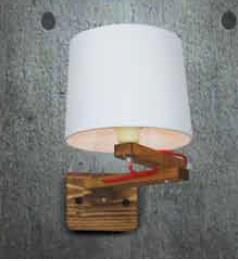 Φωτιστικό τοίχου μονόφωτο Zina υφασμάτινο με ξύλινη βάση λευκό και κόκκινο καλώδιο 20x32x40cm Home Lighting 77-3212