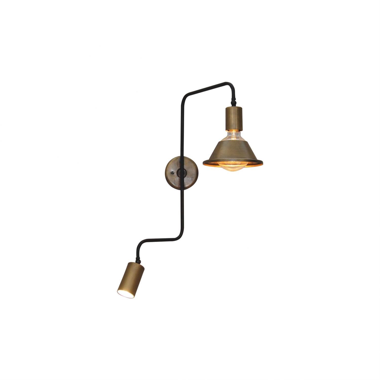 Απλίκα τοίχου με περιστρεφόμενο μπράτσο 180° και περιστρεφόμενο καπέλο 2φωτη Callie μεταλλική μπρονζέ/μαύρη 53.5x68cm Home Light