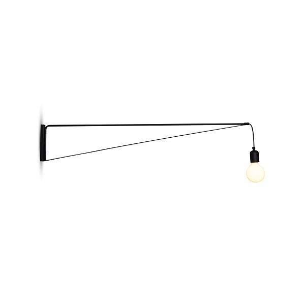 Απλίκα τοίχου με περιστρεφόμενο μπράτσο 180° μονόφωτη Nina μεταλλική μαύρη 113x20cm Home Lighting 77-3976