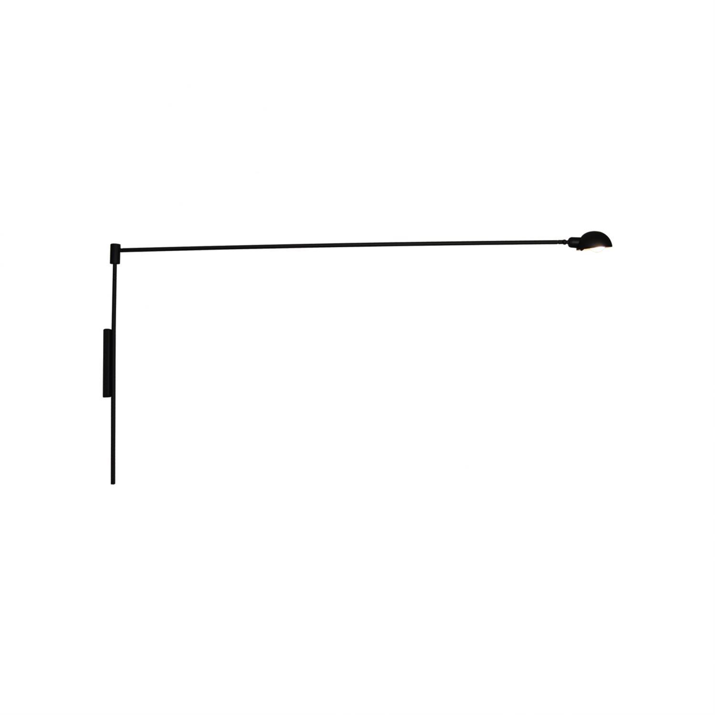 Απλίκα τοίχου με περιστρεφόμενο μπράτσο 180° και περιστρεφόμενο καπέλο μονόφωτη Tanner μεταλλική μαύρη 150x70cm Home Lighting 77