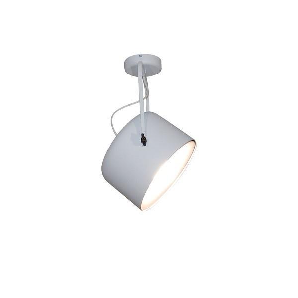 Φωτιστικό οροφής κρεμαστό μονόφωτο σε σχήμα προβολέας Archie μεταλλικό λευκό 33x27x120cm Home Lighting 77-4234