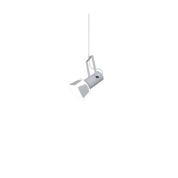 Φωτιστικό οροφής κρεμαστό μονόφωτο σε σχήμα προβολέας με πτερύγιο Arlen μεταλλικό λευκό 42x21x120cm Home Lighting 77-4243