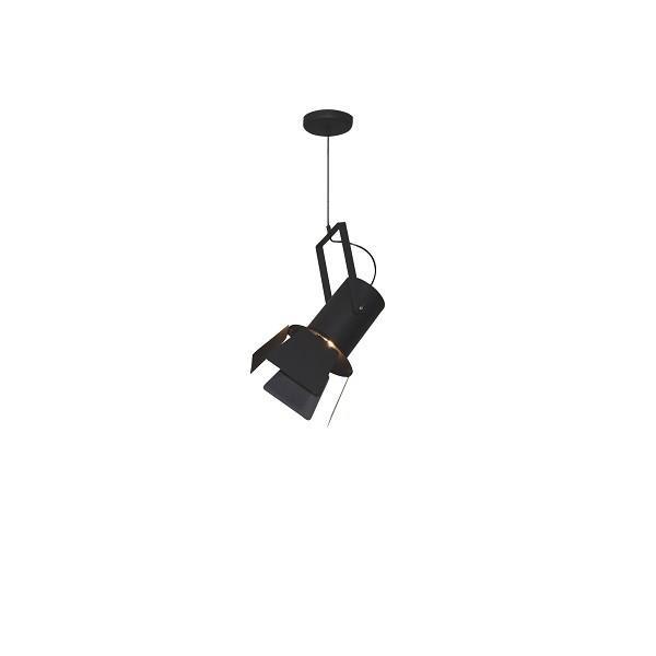 Φωτιστικό οροφής κρεμαστό μονόφωτο σε σχήμα προβολέας με πτερύγιο Arlen μεταλλικό μαύρο 42x21x120cm Home Lighting 77-4244