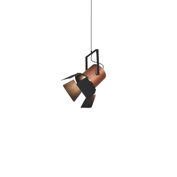 Φωτιστικό οροφής κρεμαστό μονόφωτο σε σχήμα προβολέας με πτερύγιο Arlen μεταλλικό χάλκινο/μαύρο 60x39x120cm Home Lighting 77-425