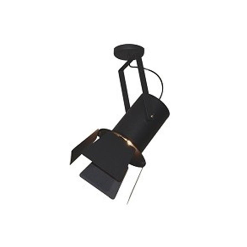 Φωτιστικό οροφής κρεμαστό μονόφωτο σε σχήμα προβολέας με πτερύγιο Arlen μεταλλικό μαύρο 25x56cm Home Lighting 77-4284