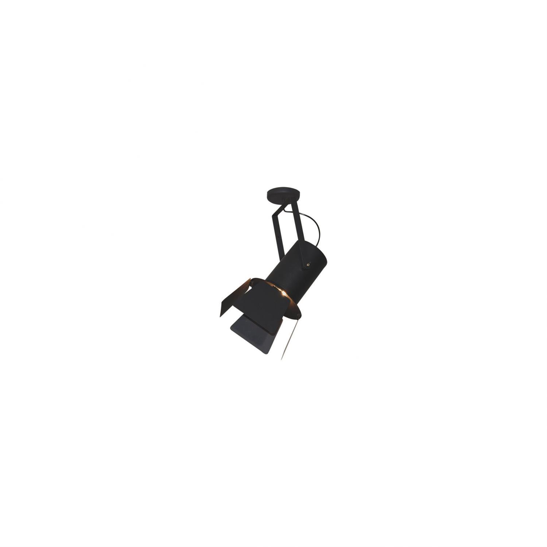 Φωτιστικό οροφής κρεμαστό μονόφωτο σε σχήμα προβολέας με πτερύγιο Arlen μεταλλικό χρυσό/μαύρο 25x56cm Home Lighting 77-4286