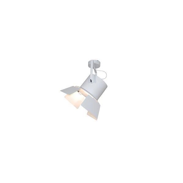 Φωτιστικό οροφής κρεμαστό μονόφωτο σε σχήμα προβολέας με πτερύγιο Arlen μεταλλικό λευκό 31x56cm Home Lighting 77-4287