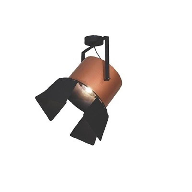 Φωτιστικό οροφής κρεμαστό μονόφωτο σε σχήμα προβολέας με πτερύγιο Arlen μεταλλικό χάλκινο/μαύρο39x60cm Home Lighting 77-4293