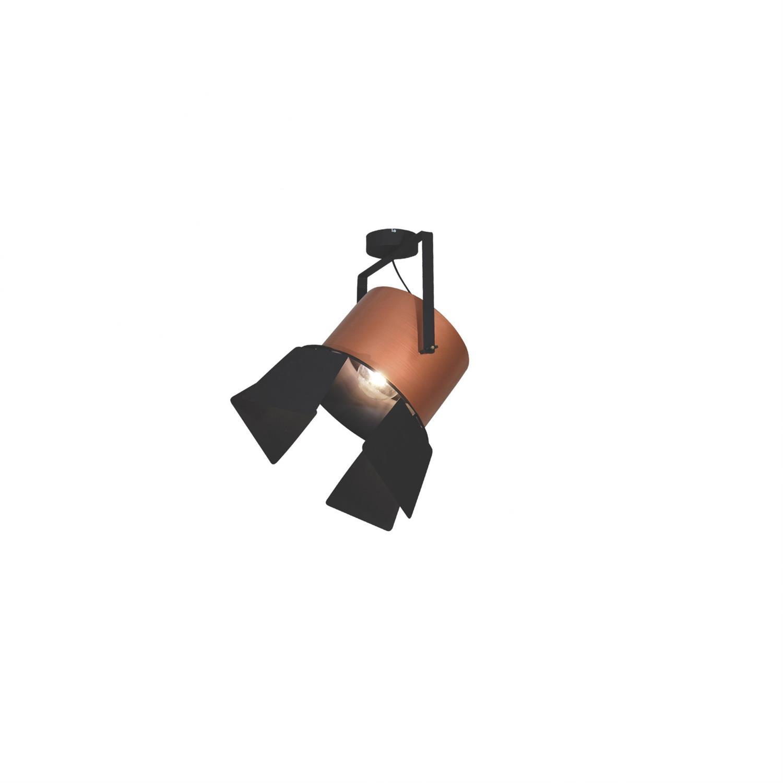 Φωτιστικό οροφής κρεμαστό μονόφωτο σε σχήμα προβολέας με πτερύγιο Arlen μεταλλικό χάλκινο/μαύρο45x65cm Home Lighting 77-4297