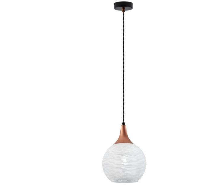 Φωτιστικό οροφής κρεμαστό μονόφωτο Fiona γυάλινο λευκό με μαύρη ανάρτηση με χάλκινες λεπτομέρειες 19x110cm Viokef 3089302