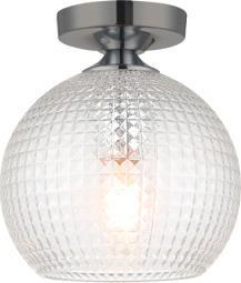 Φωτιστικό οροφής κρεμαστό μονόφωτο Talisa γυάλινο διάφανο με μαύρη ανάρτηση με λεπτομέρειες σε κασσίτερο 20x23cm Viokef 4169900
