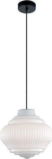 Φωτιστικό οροφής κρεμαστό μονόφωτο Boho γυάλινο/οπάλ λευκό με μαύρη ανάρτηση 27.5x150cm Viokef 4187900