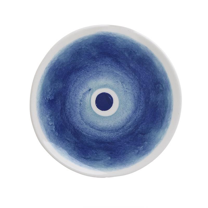 S/6 Πιάτο γλυκού Μάτι κεραμικό λευκό/μπλε 21cm Inart 3-60-017-0017