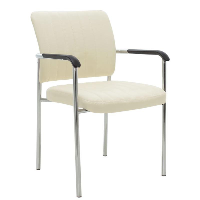 Καρέκλα γραφείου μεταλλική/PU ασημί/εκρού Inart 6-50-676-0045