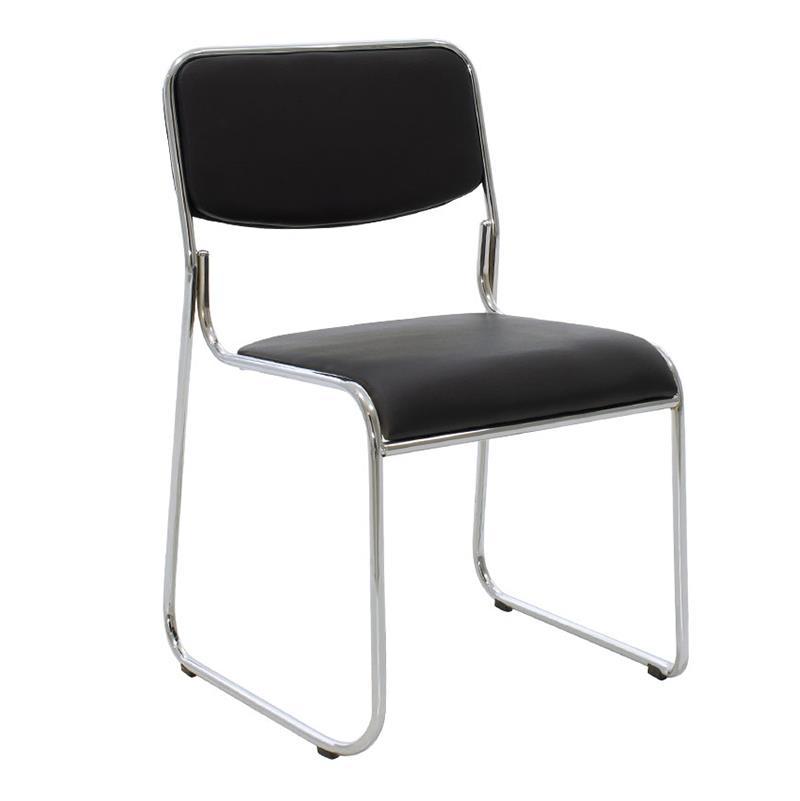 Καρέκλα γραφείου μεταλλική/PVC ασημί/μαύρο Inart 6-50-676-0041