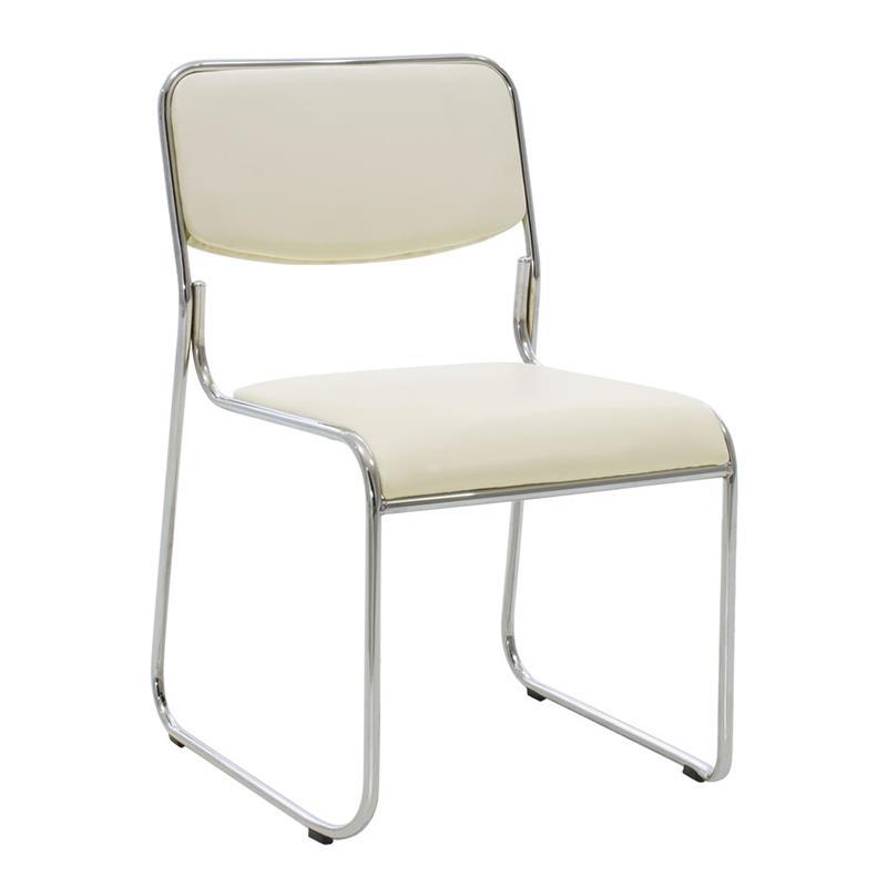 Καρέκλα γραφείου μεταλλική/PVC ασημί/εκρού Inart 6-50-676-0042