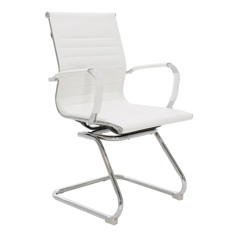 Καρέκλα γραφείου μεταλλική/PU ασημί/λευκή 6-50-676-0038