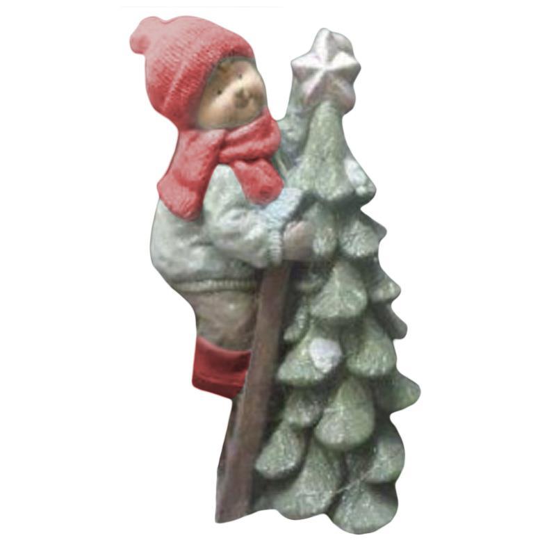 Χριστουγεννιάτικο διακοσμητικό Αγόρι με δέντρο Fiberglass με φως ασημί/κόκκινο 30x26x53cm Inart 2-70-146-0252