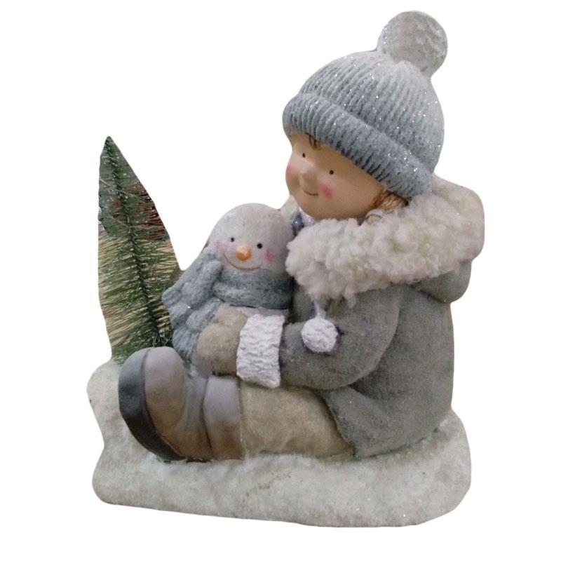 Χριστουγεννιάτικο διακοσμητικό Αγόρι Fiberglass με φως ασημί 31x19x31cm Inart 2-70-146-0255